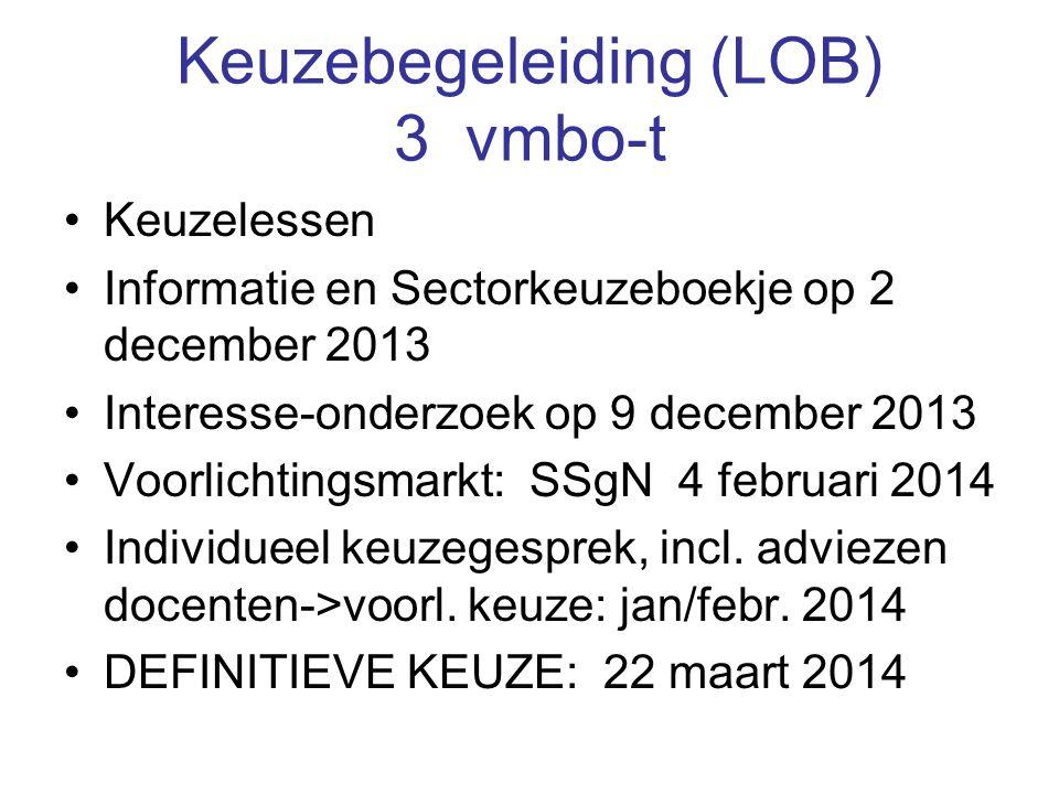Keuzebegeleiding (LOB) 3 vmbo-t Keuzelessen Informatie en Sectorkeuzeboekje op 2 december 2013 Interesse-onderzoek op 9 december 2013 Voorlichtingsmarkt: SSgN 4 februari 2014 Individueel keuzegesprek, incl.