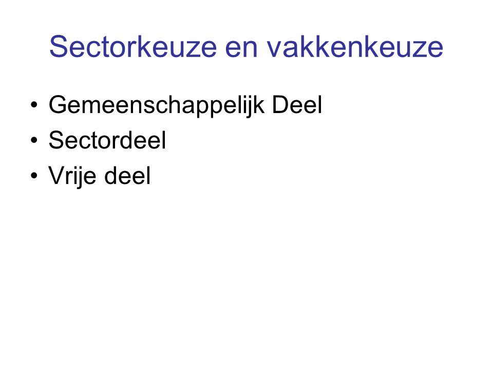 Sectorkeuze en vakkenkeuze Gemeenschappelijk Deel Sectordeel Vrije deel