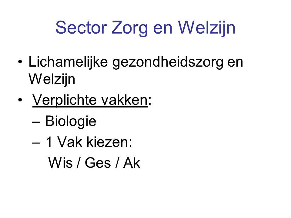 Sector Zorg en Welzijn Lichamelijke gezondheidszorg en Welzijn Verplichte vakken: – Biologie – 1 Vak kiezen: Wis / Ges / Ak