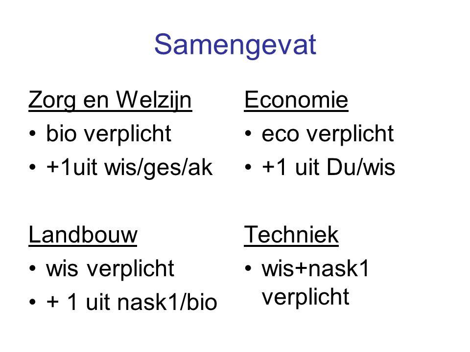 Samengevat Zorg en Welzijn bio verplicht +1uit wis/ges/ak Landbouw wis verplicht + 1 uit nask1/bio Economie eco verplicht +1 uit Du/wis Techniek wis+n