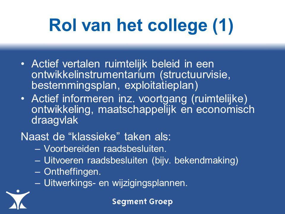 Rol van het college (1) Actief vertalen ruimtelijk beleid in een ontwikkelinstrumentarium (structuurvisie, bestemmingsplan, exploitatieplan) Actief informeren inz.