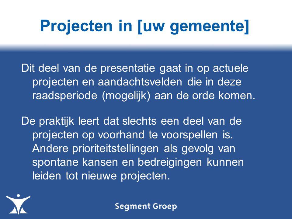 Projecten in [uw gemeente] Dit deel van de presentatie gaat in op actuele projecten en aandachtsvelden die in deze raadsperiode (mogelijk) aan de orde komen.