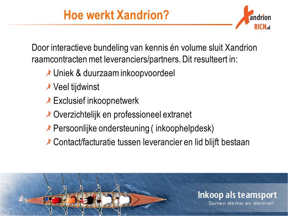 Hoe werkt Xandrion? Door interactieve bundeling van kennis én volume sluit Xandrion raamcontracten met leveranciers/partners. Dit resulteert in: Uniek