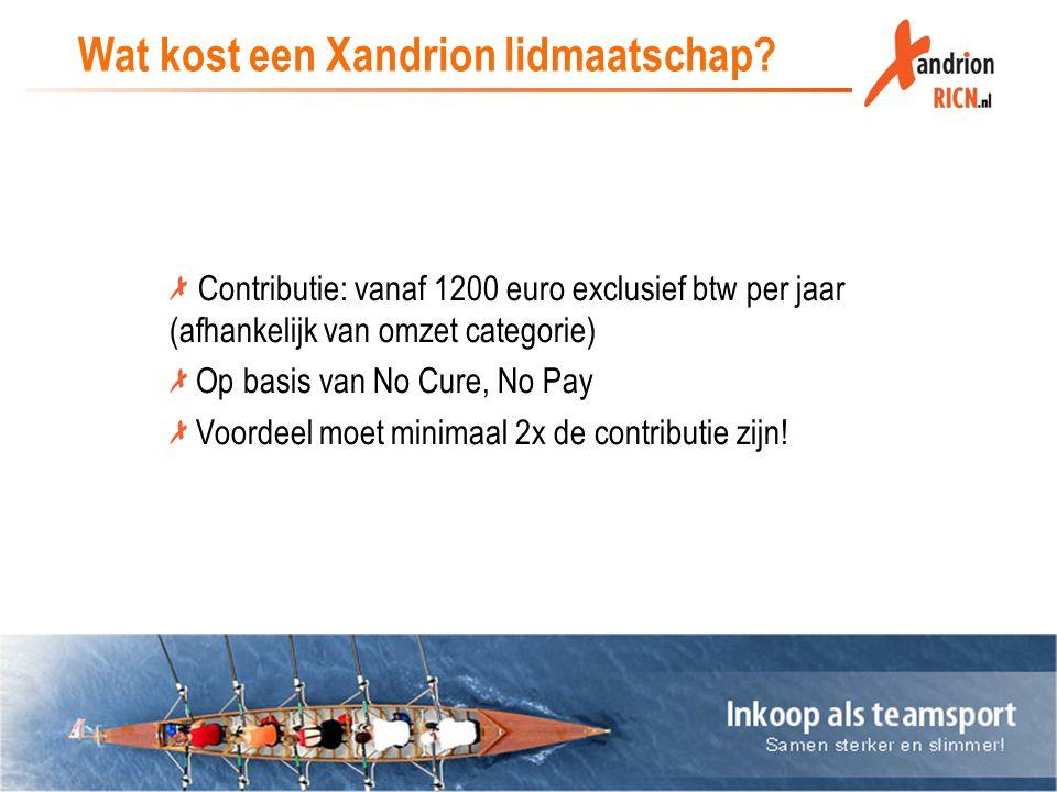 Wat kost een Xandrion lidmaatschap? Contributie: vanaf 1200 euro exclusief btw per jaar (afhankelijk van omzet categorie) Op basis van No Cure, No Pay