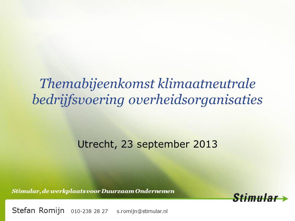 Stimular, de werkplaats voor Duurzaam Ondernemen Themabijeenkomst klimaatneutrale bedrijfsvoering overheidsorganisaties Utrecht, 23 september 2013 Stefan Romijn 010-238 28 27 s.romijn@stimular.nl