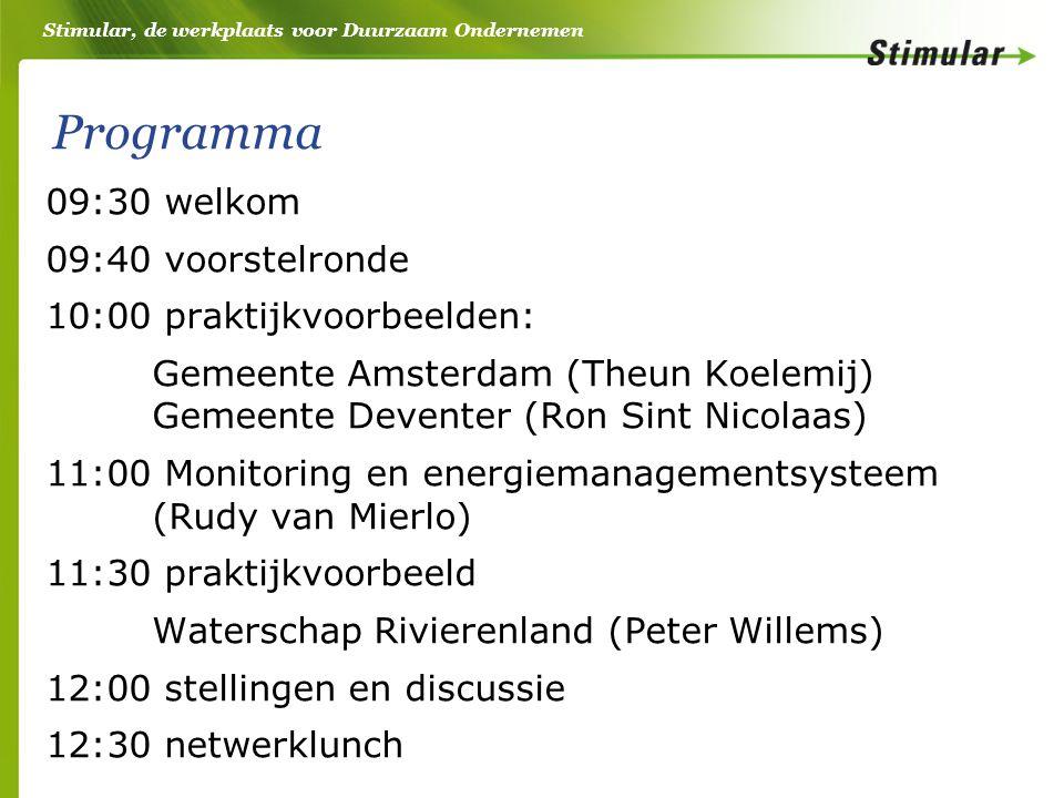 Stimular, de werkplaats voor Duurzaam Ondernemen Programma 09:30 welkom 09:40 voorstelronde 10:00 praktijkvoorbeelden: Gemeente Amsterdam (Theun Koelemij) Gemeente Deventer (Ron Sint Nicolaas) 11:00 Monitoring en energiemanagementsysteem (Rudy van Mierlo) 11:30 praktijkvoorbeeld Waterschap Rivierenland (Peter Willems) 12:00 stellingen en discussie 12:30 netwerklunch