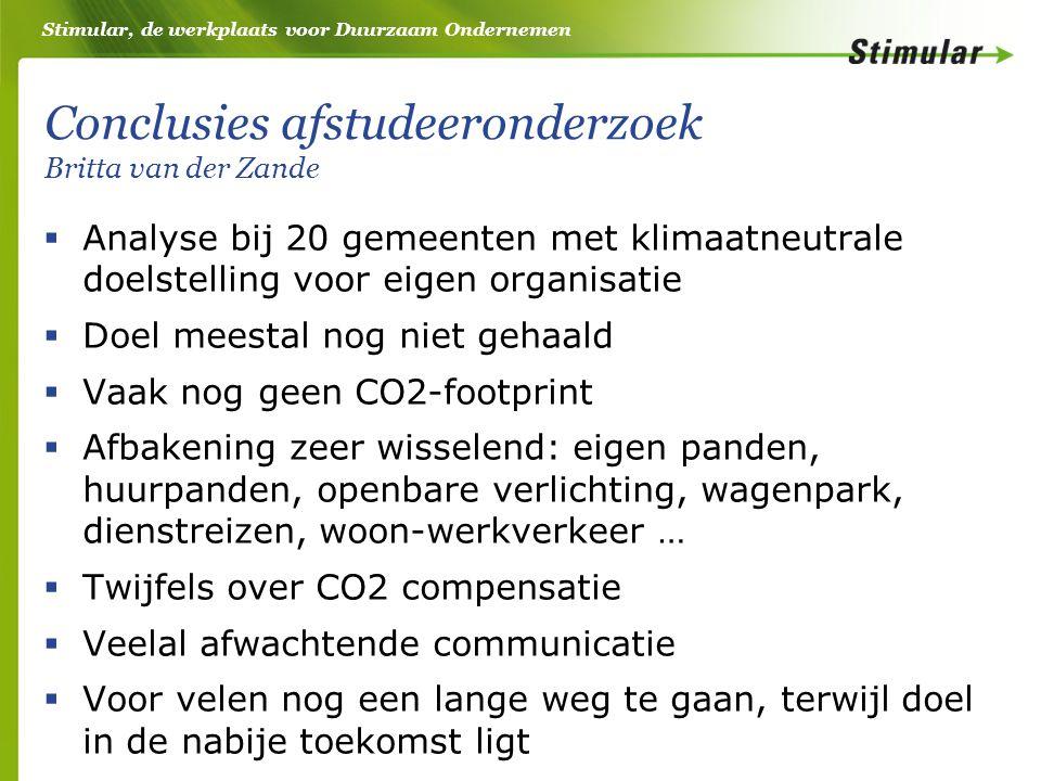 Stimular, de werkplaats voor Duurzaam Ondernemen Stelling 1: CO2-footprint moet de eerste stap zijn in het proces om klimaatneutraal te worden