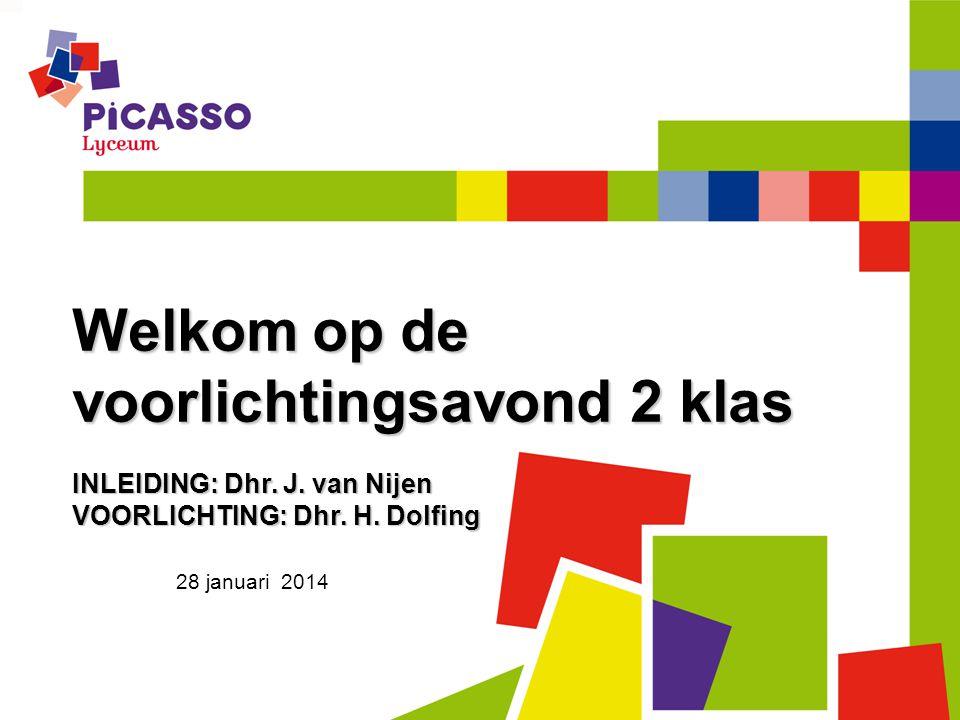 28 januari 2014 Welkom op de voorlichtingsavond 2 klas INLEIDING: Dhr. J. van Nijen VOORLICHTING: Dhr. H. Dolfing