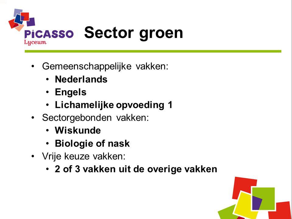 Sector groen Gemeenschappelijke vakken: Nederlands Engels Lichamelijke opvoeding 1 Sectorgebonden vakken: Wiskunde Biologie of nask Vrije keuze vakken