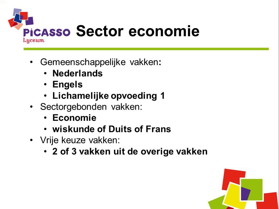 Sector economie Gemeenschappelijke vakken: Nederlands Engels Lichamelijke opvoeding 1 Sectorgebonden vakken: Economie wiskunde of Duits of Frans Vrije