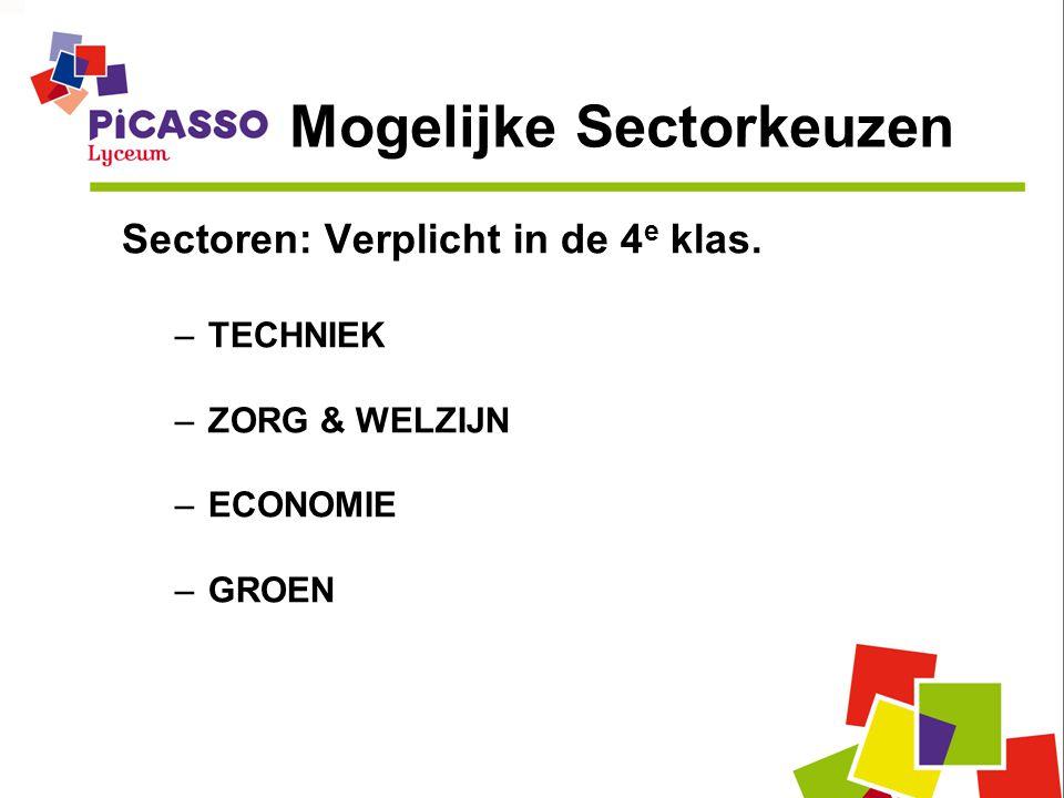 Mogelijke Sectorkeuzen Sectoren: Verplicht in de 4 e klas. –TECHNIEK –ZORG & WELZIJN –ECONOMIE –GROEN
