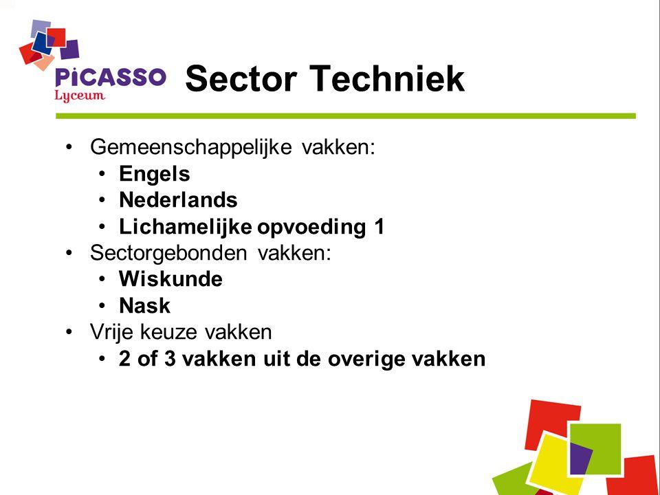 Sector Techniek Gemeenschappelijke vakken: Engels Nederlands Lichamelijke opvoeding 1 Sectorgebonden vakken: Wiskunde Nask Vrije keuze vakken 2 of 3 v