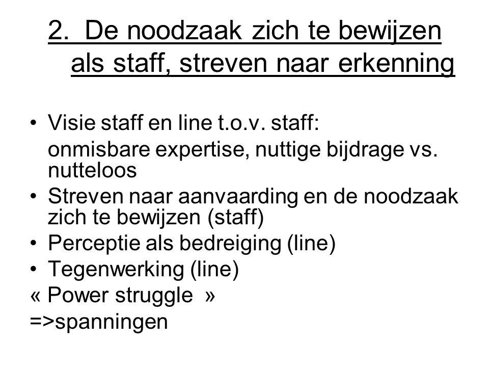 2.De noodzaak zich te bewijzen als staff, streven naar erkenning Visie staff en line t.o.v.