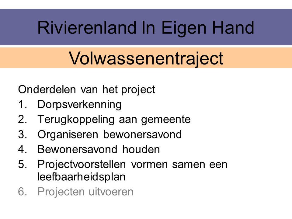 Rivierenland In Eigen Hand Onderdelen van het project 1.Dorpsverkenning 2.Terugkoppeling aan gemeente 3.Organiseren bewonersavond 4.Bewonersavond houd