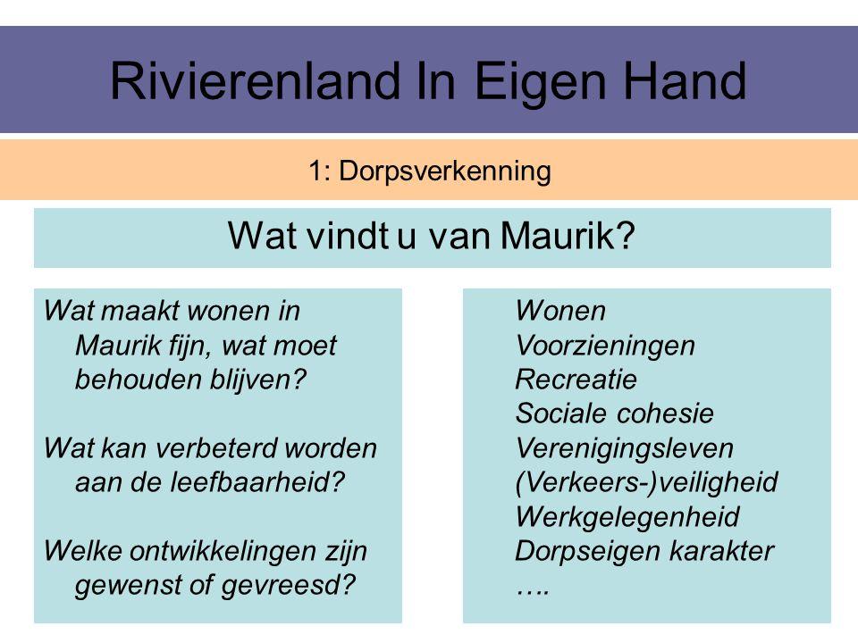 Rivierenland In Eigen Hand Wat vindt u van Maurik? 1: Dorpsverkenning Wonen Voorzieningen Recreatie Sociale cohesie Verenigingsleven (Verkeers-)veilig