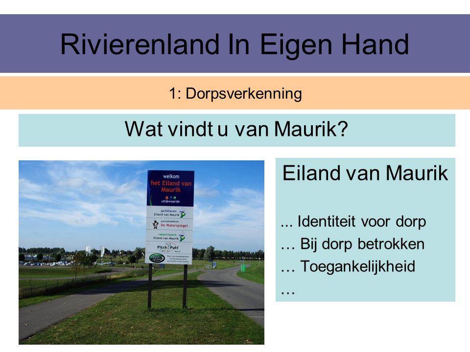 Rivierenland In Eigen Hand Wat vindt u van Maurik? 1: Dorpsverkenning Eiland van Maurik... Identiteit voor dorp … Bij dorp betrokken … Toegankelijkhei