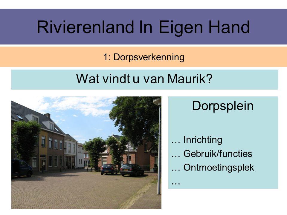 Rivierenland In Eigen Hand Wat vindt u van Maurik? 1: Dorpsverkenning Dorpsplein … Inrichting … Gebruik/functies … Ontmoetingsplek …