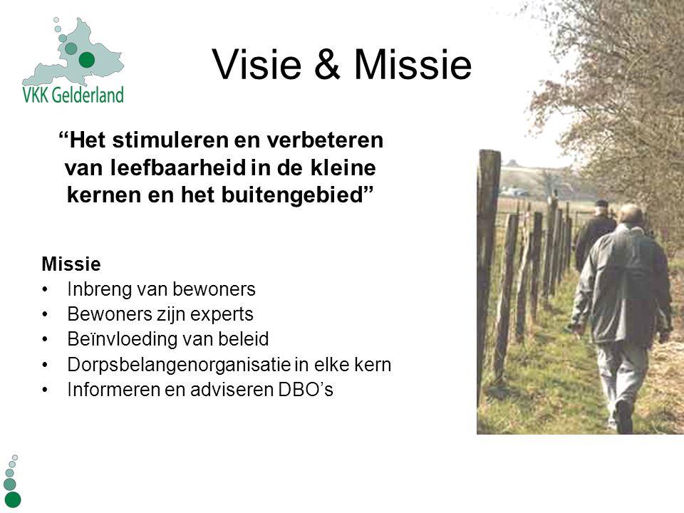 Visie & Missie Missie Inbreng van bewoners Bewoners zijn experts Beïnvloeding van beleid Dorpsbelangenorganisatie in elke kern Informeren en adviseren