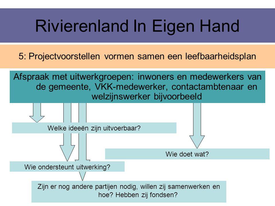 Rivierenland In Eigen Hand Afspraak met uitwerkgroepen: inwoners en medewerkers van de gemeente, VKK-medewerker, contactambtenaar en welzijnswerker bi
