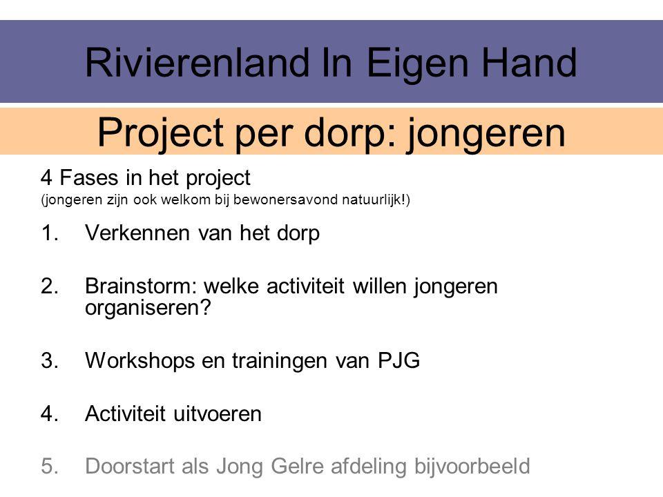 Rivierenland In Eigen Hand 4 Fases in het project (jongeren zijn ook welkom bij bewonersavond natuurlijk!) 1.Verkennen van het dorp 2.Brainstorm: welk