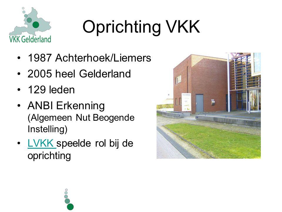 Oprichting VKK 1987 Achterhoek/Liemers 2005 heel Gelderland 129 leden ANBI Erkenning (Algemeen Nut Beogende Instelling) LVKK speelde rol bij de oprich