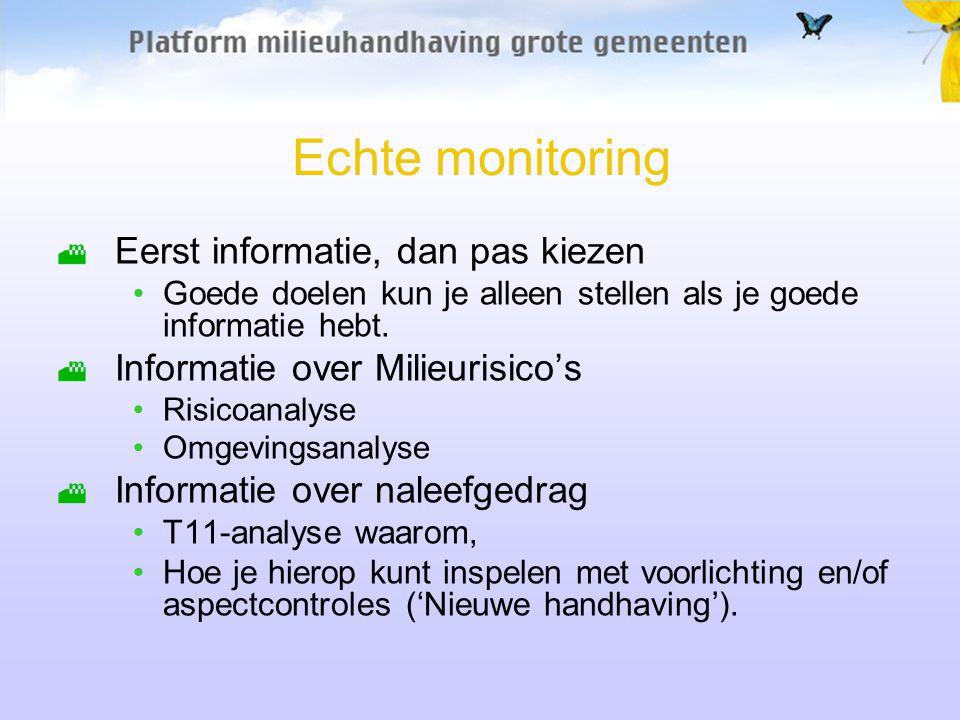Echte monitoring Eerst informatie, dan pas kiezen Goede doelen kun je alleen stellen als je goede informatie hebt.