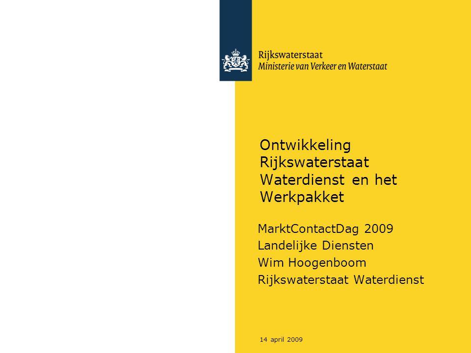 Rijkswaterstaat Workshoptitel214 april 2009 Hoofdwatersysteem: Rijn, Maas, IJssel en kanalen, IJsselmeer, Zeeuwse Delta, Wadden en Noordzee Rijkswaterstaat: 10 Regionale Diensten; 16 waterdistricten