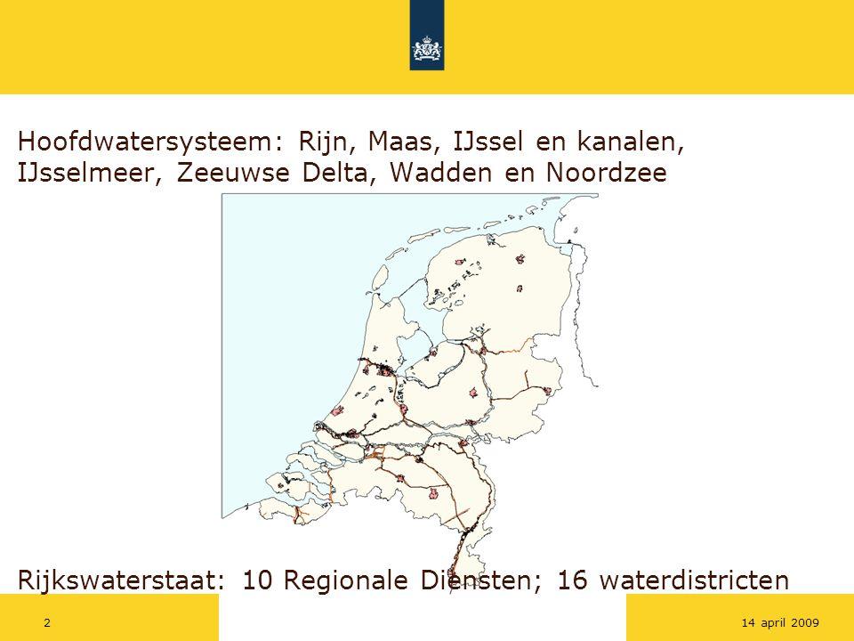 Rijkswaterstaat Workshoptitel314 april 2009 Missie Rijkswaterstaat -Droge voeten -Voldoende en schoon water -Vlot en veilig verkeer over weg en water -Betrouwbare en bruikbare informatie Voor hoofdwatersysteem is dit vertaald in een beheerplan (BPRW), waarin ondermeer: -Primaire keringen op orde, nieuw waterveiligheidsbeleid (risicobenadering), nieuwe normering -Optimalisatie zoetwaterverdeling, voorbereiding toekomstige besluitvorming zoetwatervoorziening na 2015 -Realisatie maatregelen Europese Kaderrichtlijn Water (KRW) en Natura 2000 -Onderhoudstoestand vaarwegen op basisniveau -Accurate vergunning verlening en handhaving (nieuwe Waterwet) -Ondersteuning diverse gebruiksfuncties, zoals recreatie -Versterking toerusting voor incidenten en calamiteiten Rijkswaterstaat en hoofdwatersysteem