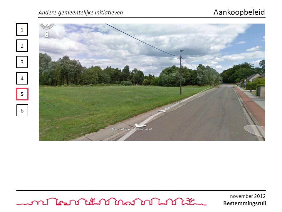 1 2 3 4 5 6 Andere gemeentelijke initiatieven Aankoopbeleid Bestemmingsruil november 2012
