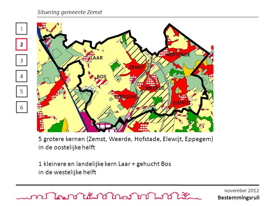 1 2 3 4 5 6 Deelzones Gewestplanbestemming: - Woongebied - Woonuitbreidingsgebied Bestemming RUP: - Woonprojectzone RUP03bis Te Beschermen Landschappelijke Zichten Bestemmingsruil november 2012