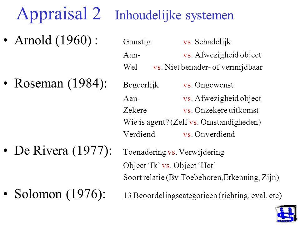 Appraisal 1 Hoofdsoorten Arnold (1960) Inhoudelijk Drie dimensies: Gunstig vs. Schadelijk Aan- of Afwezigheid object Wel vs. Niet benader- of vermijdb
