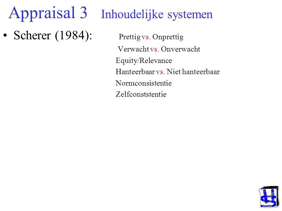 Appraisal 2 Inhoudelijke systemen Arnold (1960) : Gunstig vs. Schadelijk Aan- vs. Afwezigheid object Wel vs. Niet benader- of vermijdbaar Roseman (198