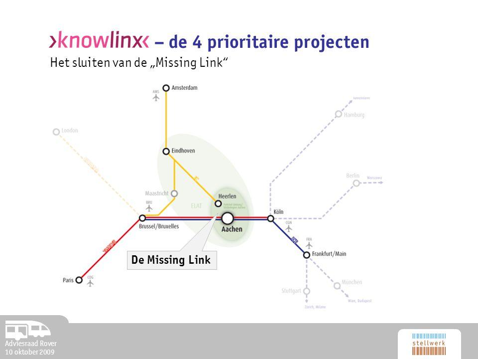 """Adviesraad Rover 10 oktober 2009 Het sluiten van de """"Missing Link – de 4 prioritaire projecten De Missing Link"""