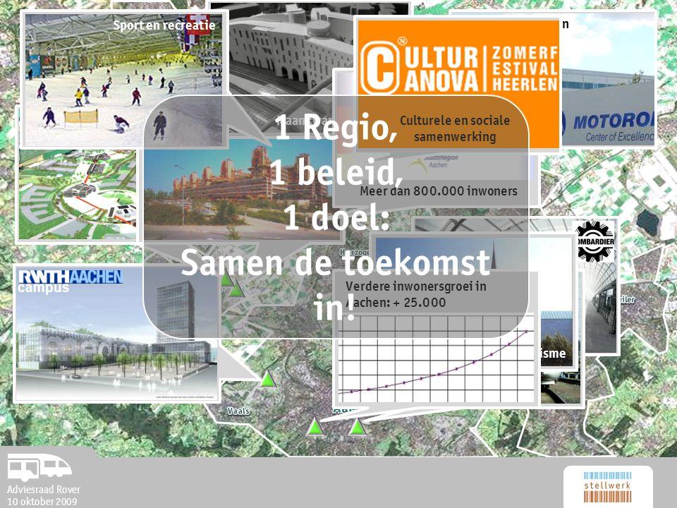 Adviesraad Rover 10 oktober 2009 campus nieuwe vestigingen Europees AZ op Avantis Maankwartier HeerlenToerisme Sport en recreatie Meer dan 800.000 inwoners Verdere inwonersgroei in Aachen: + 25.000 Culturele en sociale samenwerking 1 Regio, 1 beleid, 1 doel: Samen de toekomst in.