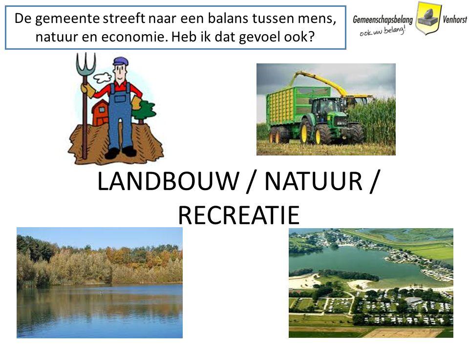 LANDBOUW / NATUUR / RECREATIE De gemeente streeft naar een balans tussen mens, natuur en economie. Heb ik dat gevoel ook?