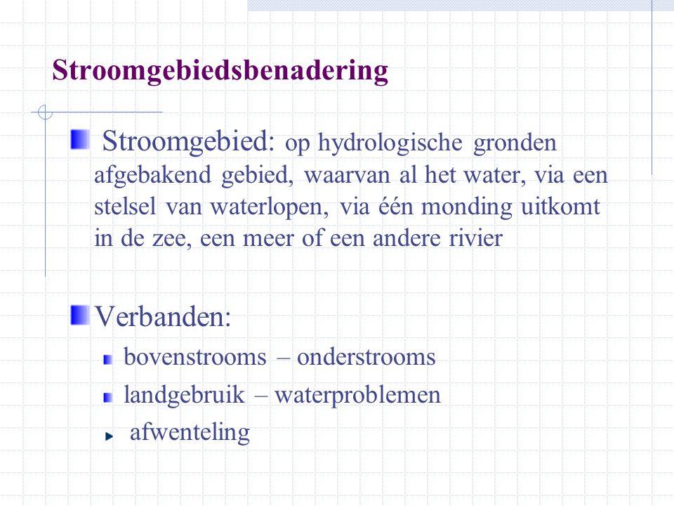 Stroomgebiedsbenadering Stroomgebied: op hydrologische gronden afgebakend gebied, waarvan al het water, via een stelsel van waterlopen, via één mondin