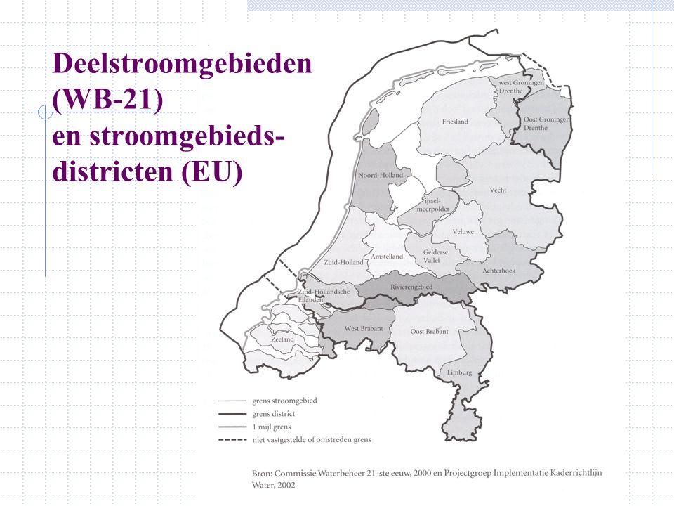 Deelstroomgebieden (WB-21) en stroomgebieds- districten (EU)