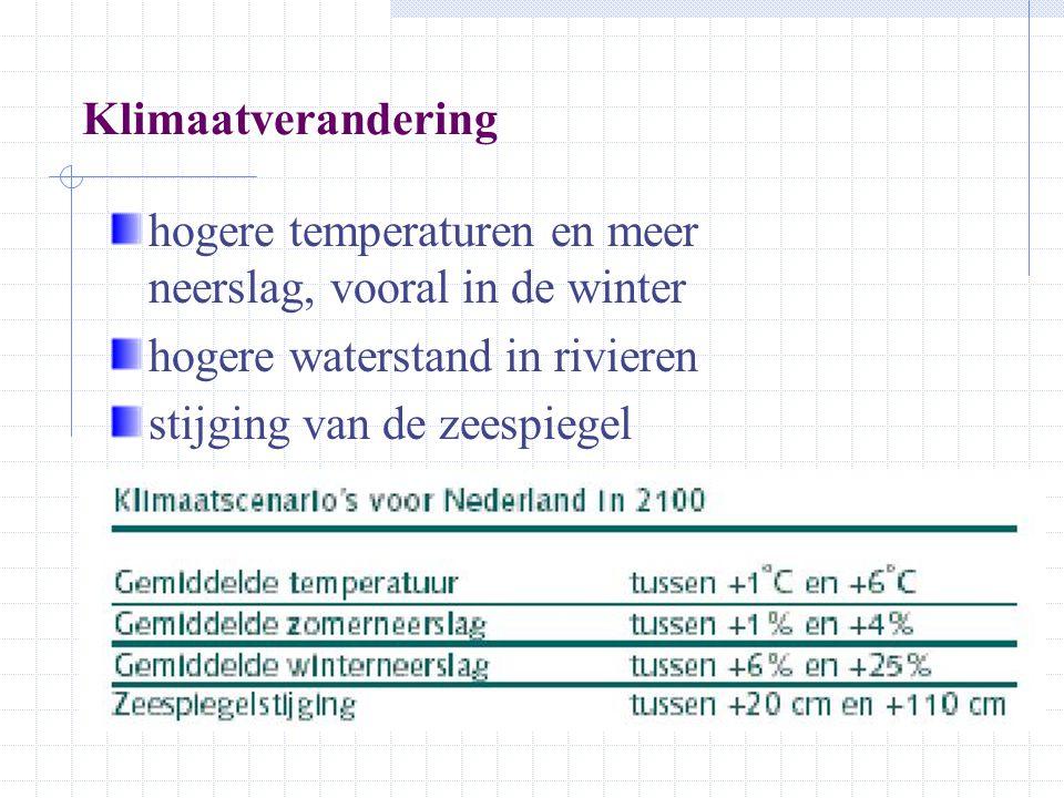 Klimaatverandering hogere temperaturen en meer neerslag, vooral in de winter hogere waterstand in rivieren stijging van de zeespiegel