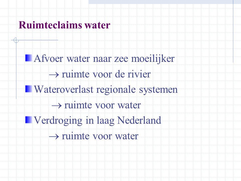 Nieuwe opgaven voor ruimte en water Meer ruimte voor water Tot 2030: stedelijk/infra+ 106.000 tot 199.000 ha landbouw– 170.000 tot – 475.000 ha natuur+ 333.000 ha recreatie+ 144.000 ha water+ 490.000 ha Intensief en meervoudig ruimtegebruik