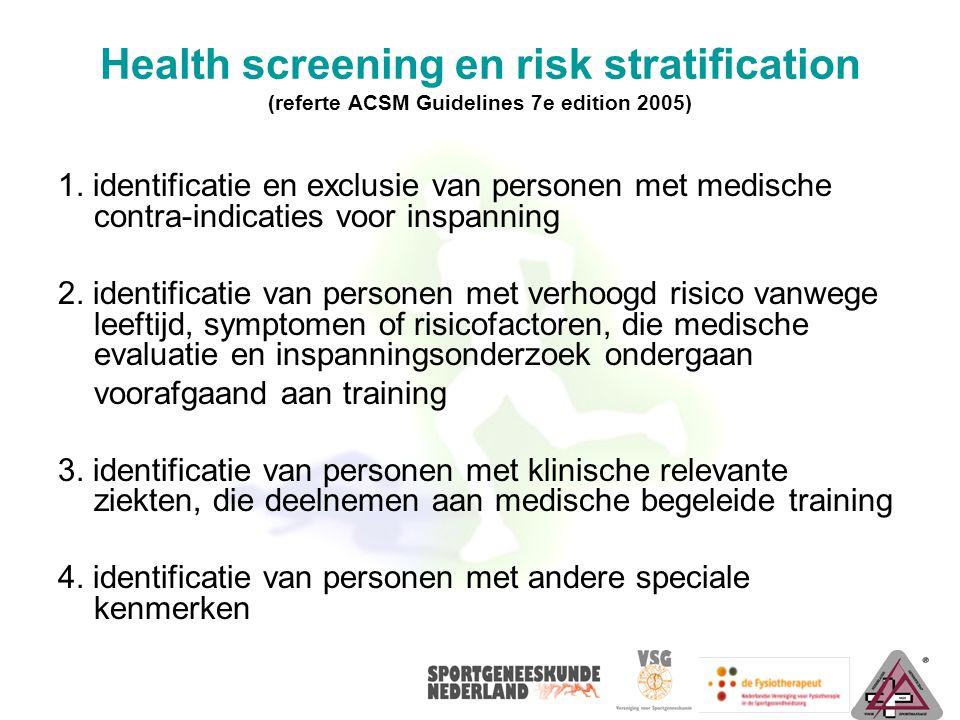 Health screening en risk stratification (referte ACSM Guidelines 7e edition 2005) 1. identificatie en exclusie van personen met medische contra-indica