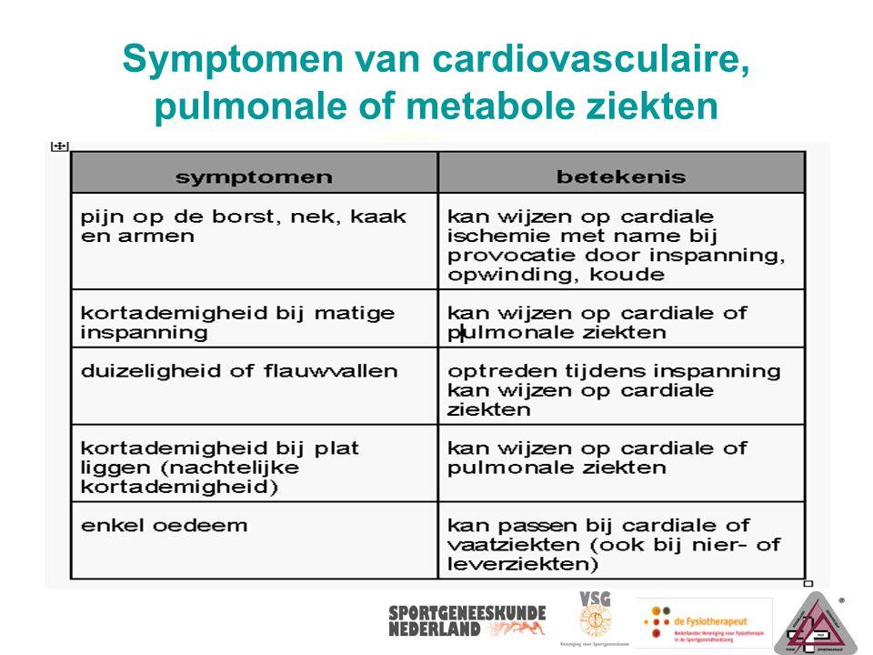 Vervolg – symptomen van cardiovasculaire, pulmonale of metabole ziekten