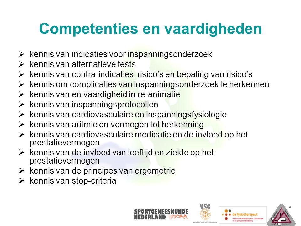 Competenties en vaardigheden  kennis van indicaties voor inspanningsonderzoek  kennis van alternatieve tests  kennis van contra-indicaties, risico'