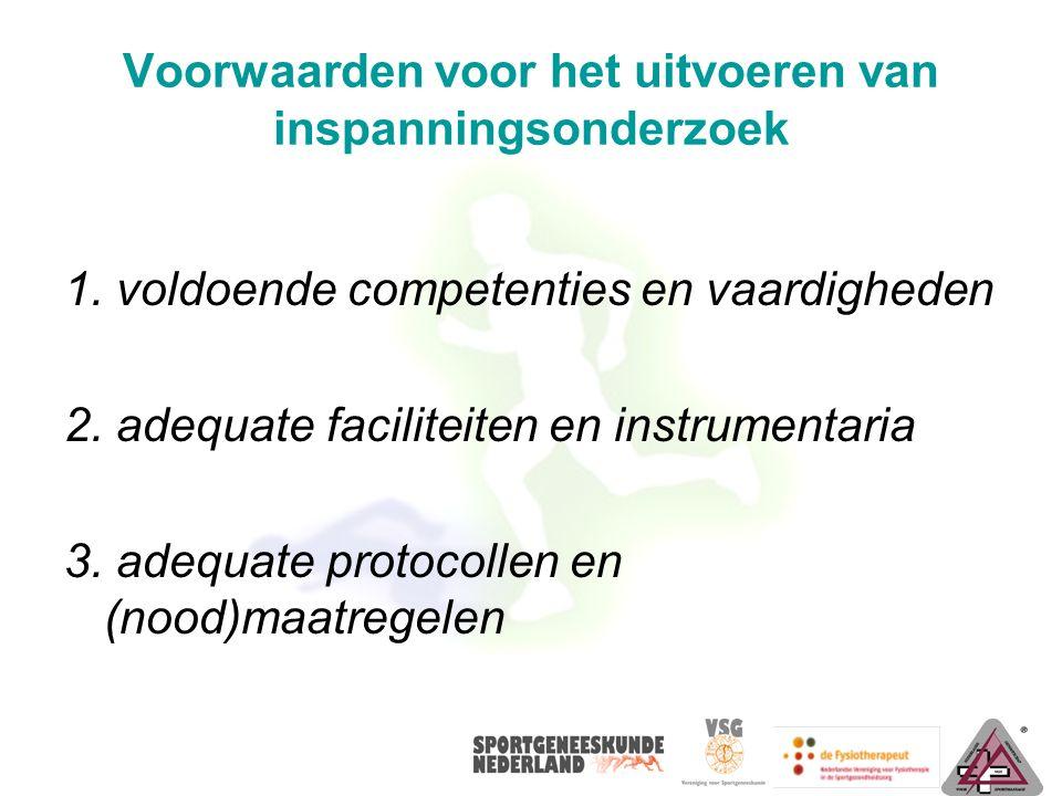 Voorwaarden voor het uitvoeren van inspanningsonderzoek 1. voldoende competenties en vaardigheden 2. adequate faciliteiten en instrumentaria 3. adequa