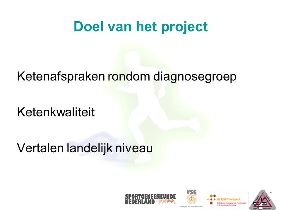 Doel van het project Ketenafspraken rondom diagnosegroep Ketenkwaliteit Vertalen landelijk niveau