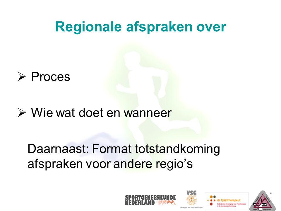 Regionale afspraken over  Proces  Wie wat doet en wanneer Daarnaast: Format totstandkoming afspraken voor andere regio's