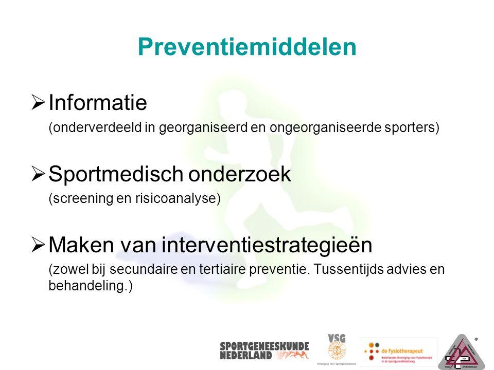 Preventiemiddelen  Informatie (onderverdeeld in georganiseerd en ongeorganiseerde sporters)  Sportmedisch onderzoek (screening en risicoanalyse)  M