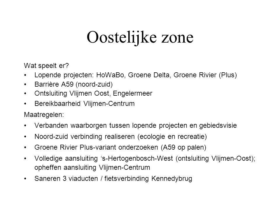 Oostelijke zone Wat speelt er? Lopende projecten: HoWaBo, Groene Delta, Groene Rivier (Plus) Barrière A59 (noord-zuid) Ontsluiting Vlijmen Oost, Engel