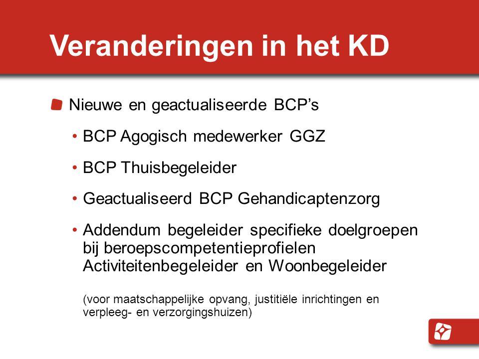 Veranderingen in het KD Nieuwe en geactualiseerde BCP's BCP Agogisch medewerker GGZ BCP Thuisbegeleider Geactualiseerd BCP Gehandicaptenzorg Addendum