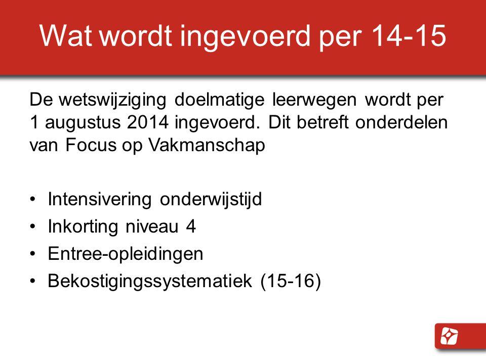 Wat wordt ingevoerd per 14-15 De wetswijziging doelmatige leerwegen wordt per 1 augustus 2014 ingevoerd. Dit betreft onderdelen van Focus op Vakmansch