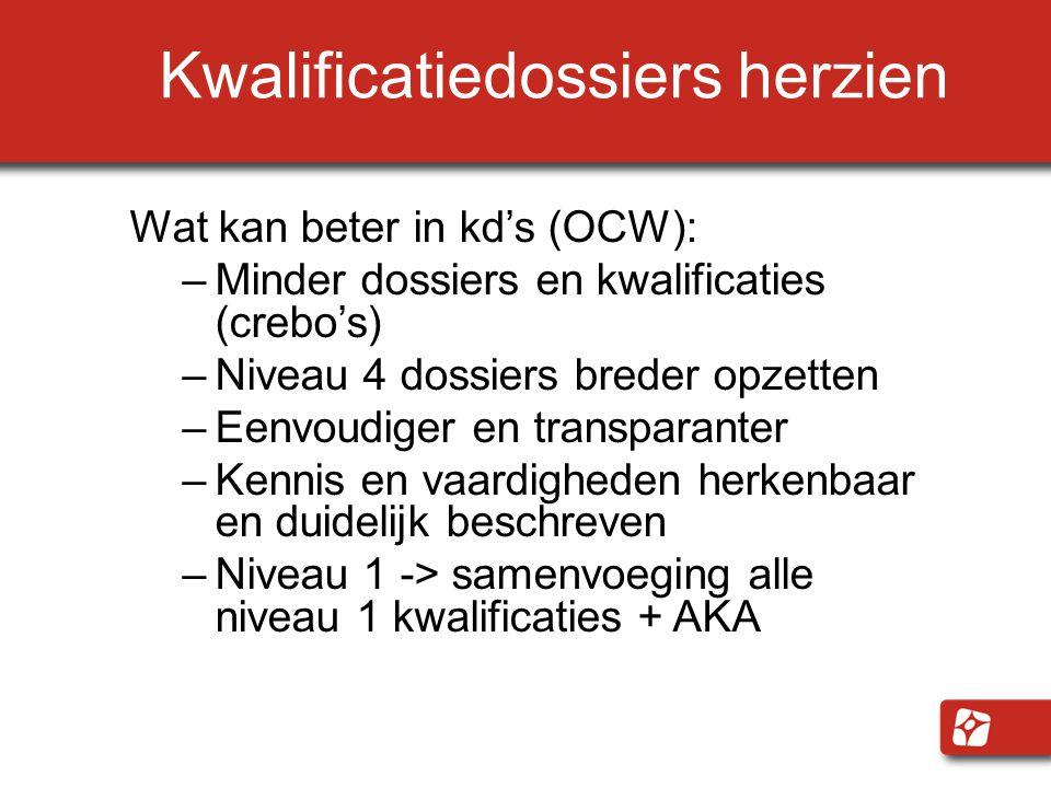 Kwalificatiedossiers herzien Wat kan beter in kd's (OCW): –Minder dossiers en kwalificaties (crebo's) –Niveau 4 dossiers breder opzetten –Eenvoudiger